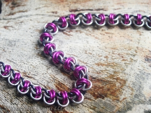 Sterling silver, pink, and black Barrelweave chainmaille bracelet