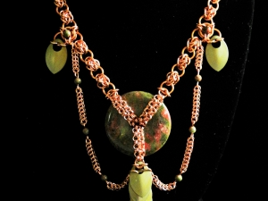 Copper and Unakite chainmaille statement necklace - Handmaden Designs LLC