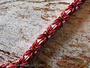 copper, hot pink, brown, and magenta Byzantine anklet by Handmaden Designs LLC