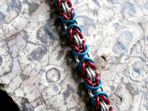 Sterling silver patriotic chainmaille anklet by Handmaden Designs LLC