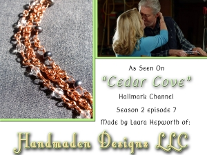 Cedar Cove copper and pearl bracelet by Handmaden Designs LLC
