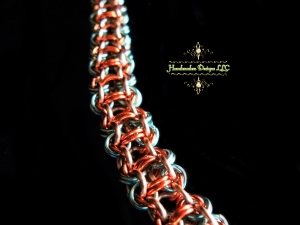 Copper and enameled copper Chelydra chainmaille bracelet - Handmaden Designs LLC