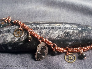 Copper Byzantine and Steampunk charm bracelet by Handmaden Designs LLC