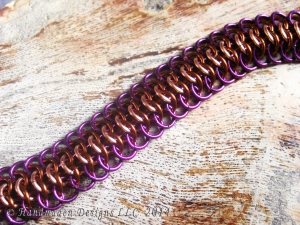 Copper, purple, and brown Crotalus chainmaille bracelet by Handmaden Designs LLC