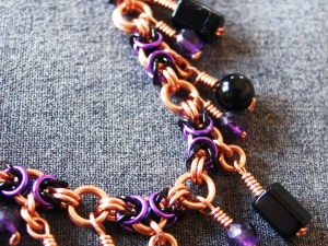 Copper, black, and purple Segmented Byzantine anklet by Handmaden Designs LLC