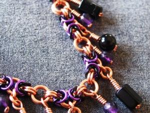 Copper, black, and purple Segmented Byzantine anklet by Handmaden Designs LLC