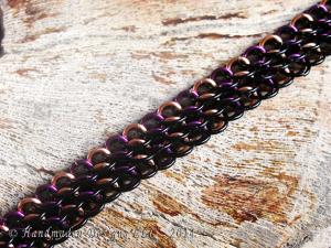 Copper, black, and purple Bias Dragonscale  bracelet by Handmaden Designs LLC