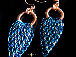 Copper & enameled copper Dragonwing chainmaille earrings - Handmaden Designs LLC