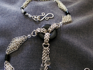 Sterling silver, Quartz, & Black Onyx Art Deco inspired chainmaille necklace