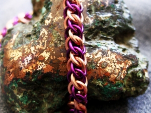 Half Persian 3in1 copper and purple enameled copper bracelet