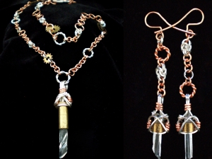 Sterling silver, copper, and raw quartz crystal Steampunk set