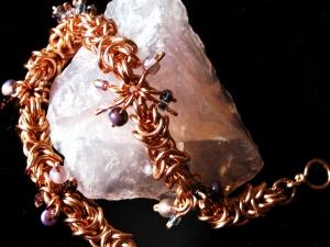 Copper Byzantine/Boxchain bracelet with purple beads