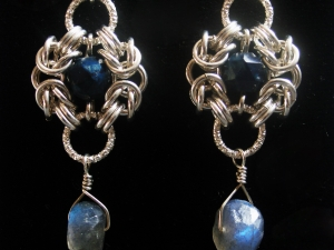 Sterling silver Lazurite & Labradorite Romanv earrings by Handmaden Designs LLC