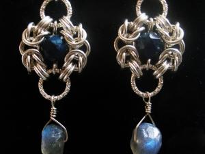 Sterling silver Lazurite & Labradorite Romanv earrings by Handmaden Designs LLC