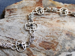 Sterling silver Black Spinel chainmaille bracelet