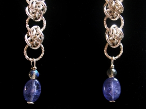 Sterling silver Labradorite and Tanzanite earrings by Handmaden Designs LLC