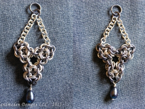 Sterling silver and tantalum Chelydra chainmaille pendant