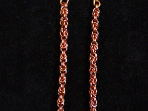 Copper and freshwater pearl Half Byzantine earrings by Handmaden Designs LLC