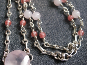 Sterling silver Victorian style chainmaille necklace by Handmaden Designs LLC