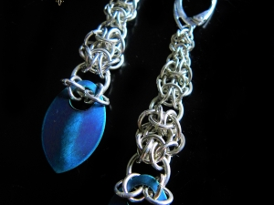 Sterling silver Graduated Mordor scale earrings by Handmaden Designs LLC