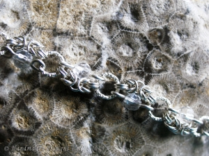 Sterling silver and Quartz Half-Romanov chainmaille bracelet