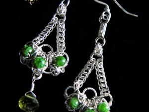 Sterling silver, Chrome Diopside, and Vesuvianite Seelie Chain Earrings