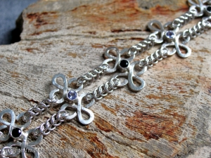 Celtic style sterling silver Tanzanite and Black Spinel bracelet