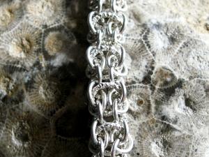 Sterling silver Shadow Elf chainmaille bracelet by Handmaden Designs LLC