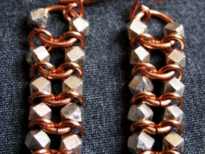 Sterling silver and copper Centipede/Millipede earrings by Handmaden Designs LLC