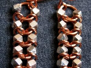 Sterling silver and copper Centipede/Millipede earrings by Handmaden Designs LLC
