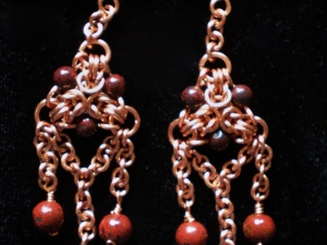 Copper, red Jasper, and Brecciated Jasper Byzantine triangle earrings
