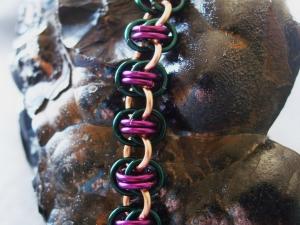 Barrelweave (Bracelet)(Copper/Purple/Teal)