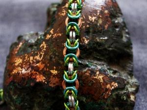 Byzantine 9Bracelet0(Sterling Silver/Copper/Aqua/Lime Green)