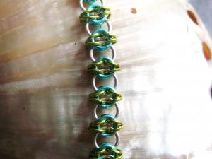 Celtic Visions (Bracelet)(Sterling Silver/Aqua/Lime Green)