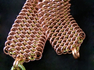 Dragonscale bracelet (Copper/Brown/Lime Green)
