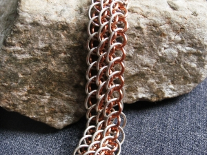 Dragonscale on the Bias (Bracelet)(Sterling Silver/Copper)