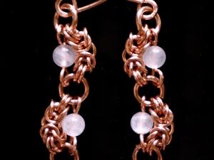 Nadine (Earrings)(Copper/Rose Quartz)